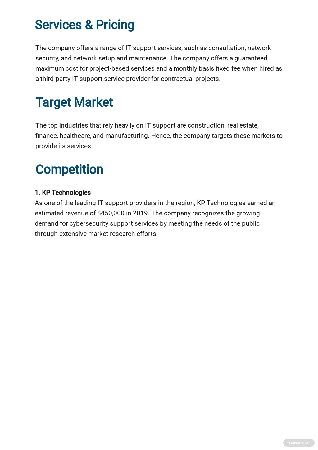 IT Support Business Plan Template 2.jpe