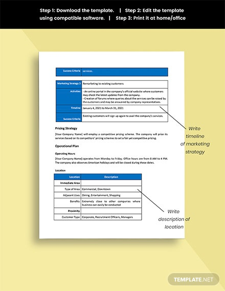 IT Contractor Business Plan Template Editable