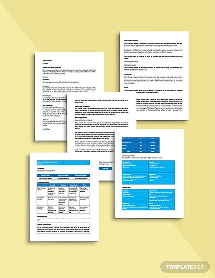 IT Contractor Business Plan Template Printable