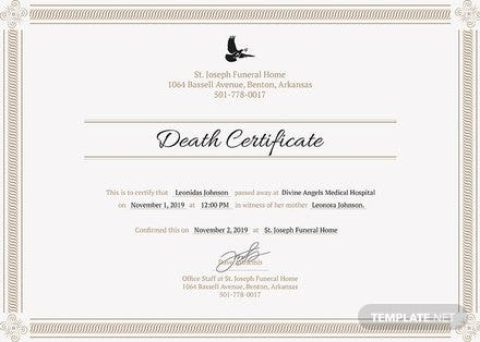 Free Death Certificate Template: Download 200+ Certificates in PSD ...