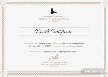 Free Death Certificate Template | Free Templates