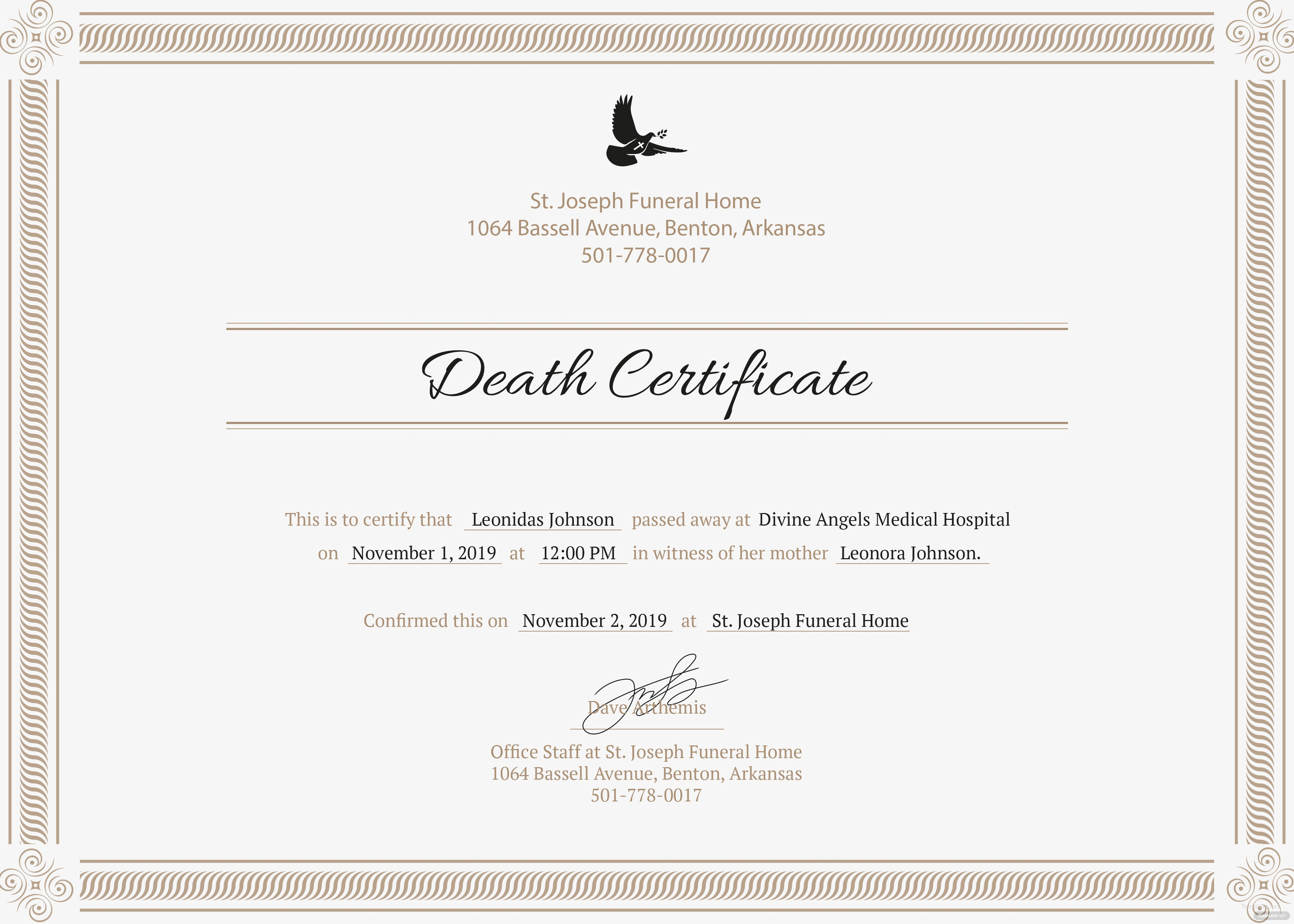 free death certificate template in psd  ms word  publisher