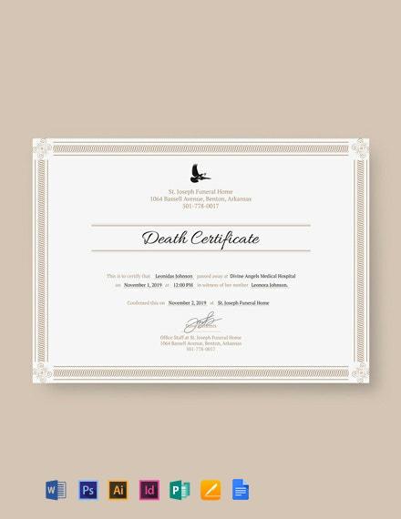 Free Death Certificate Template