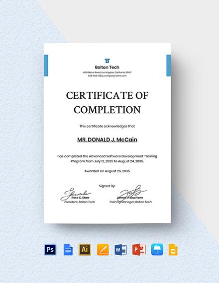 IT Training Certificate Template