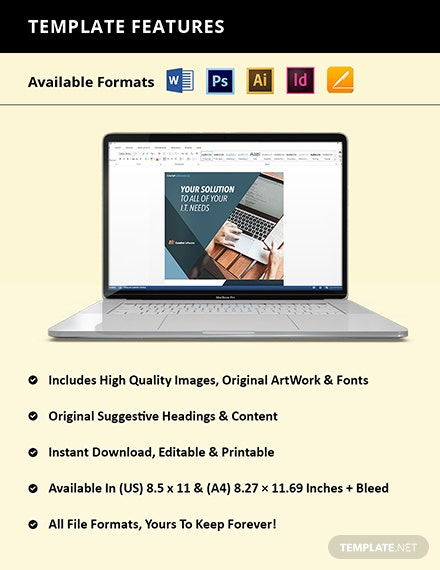 Creative Software Company Flyer Template  - Illustrator, InDesign, Word, Apple Pages, PSD, PDF