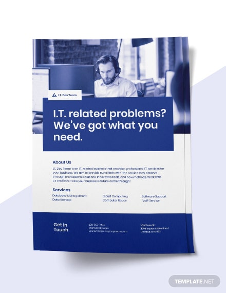 Free Elegant IT Services Flyer Template download