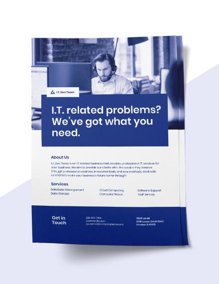 Elegant IT Services Flyer Template  - Illustrator, InDesign, Word, Apple Pages, PSD