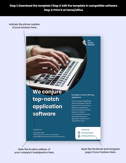 Application Software Developer Flyer Template  - Google Docs, Illustrator, InDesign, Word, Apple Pages, PSD