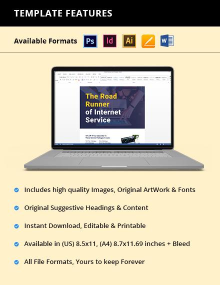 ISP Internet Service Flyer Template  - Illustrator, InDesign, Word, Apple Pages, PSD