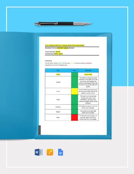 Release Status Report Template