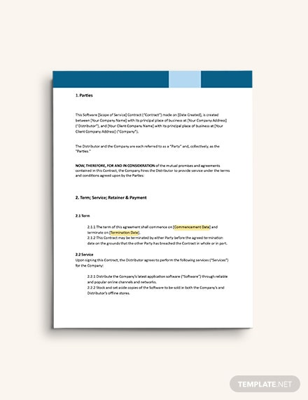 Software Distribution Contract Template