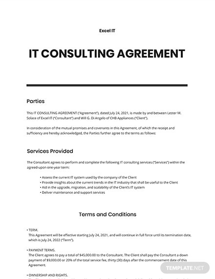 IT Consulting Agreement Template