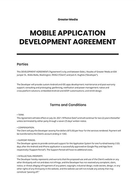 Mobile Application Development Agreement Template