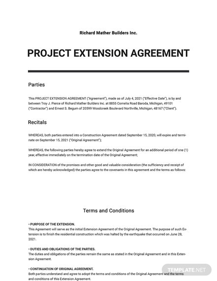Project Extension Agreement Template