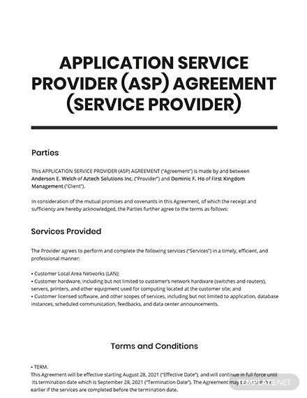 Application Service Provider (ASP) Agreement (Service Provider) Template