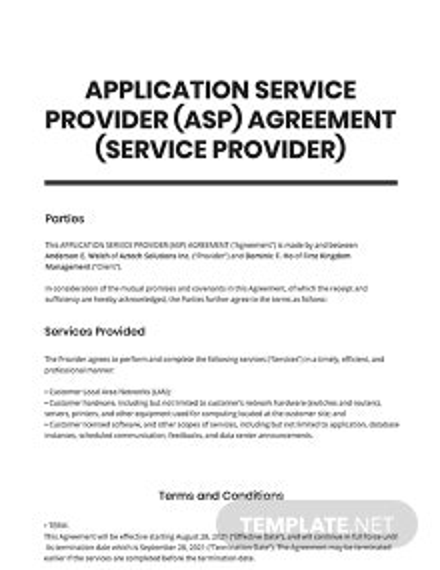 Application Service Provider (ASP) Agreement (Service Provider) Template