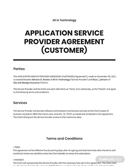 Application Service Provider (ASP) Agreement (Customer) Template