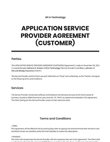 Application Service Provider (ASP) Agreement (Customer) Template