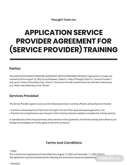 Application Service Provider Agreement (Service Provider) Training Template