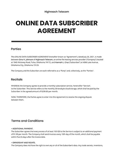 Online Data Subscriber Agreement Template