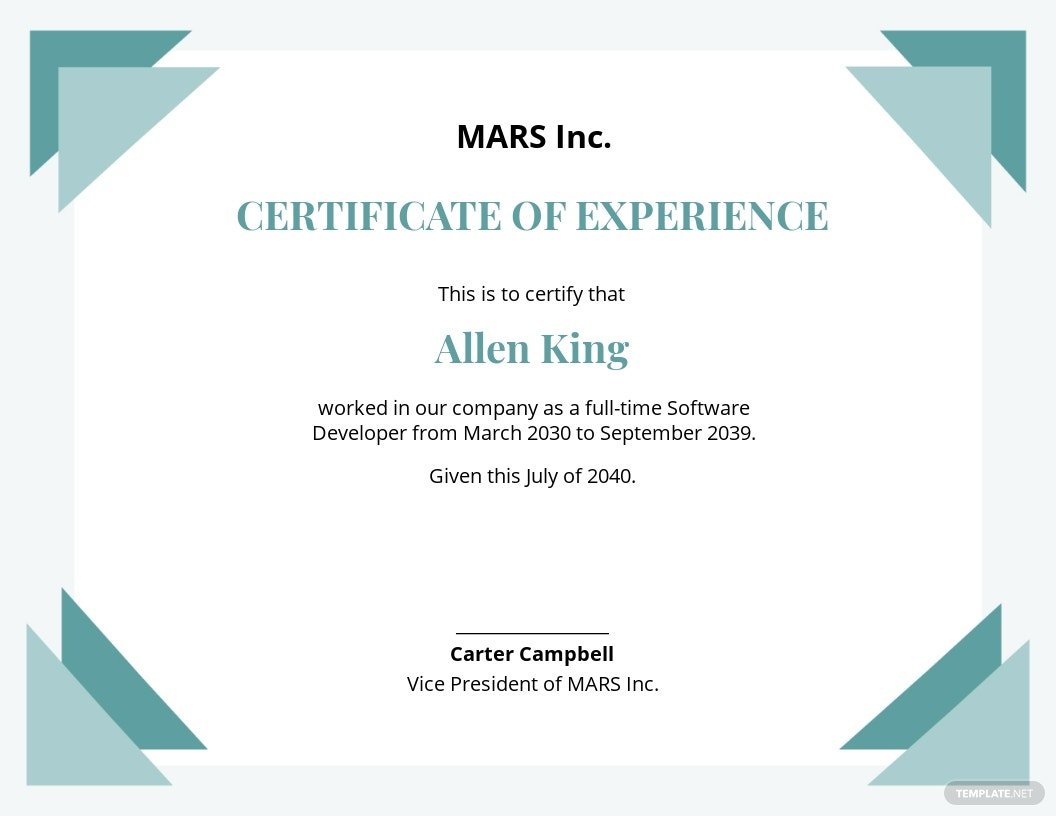 IT Experience Certificate Template