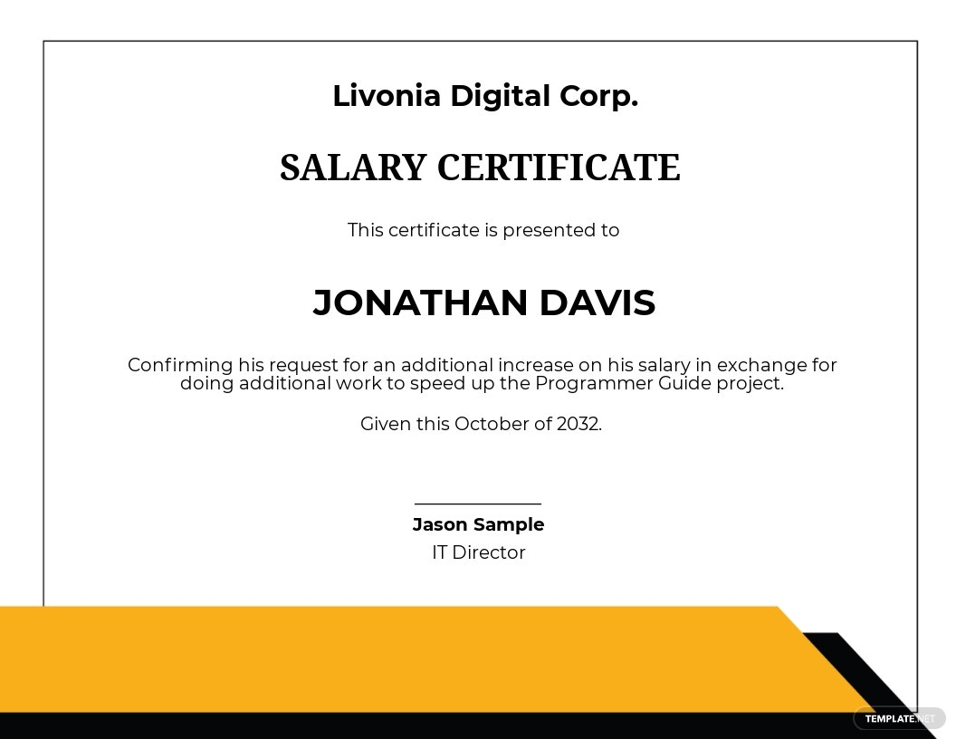 IT Salary Certificate Template