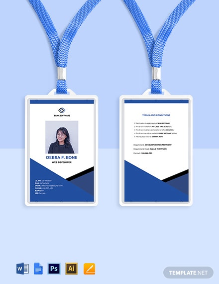 Free Sample Software Company ID Card Template
