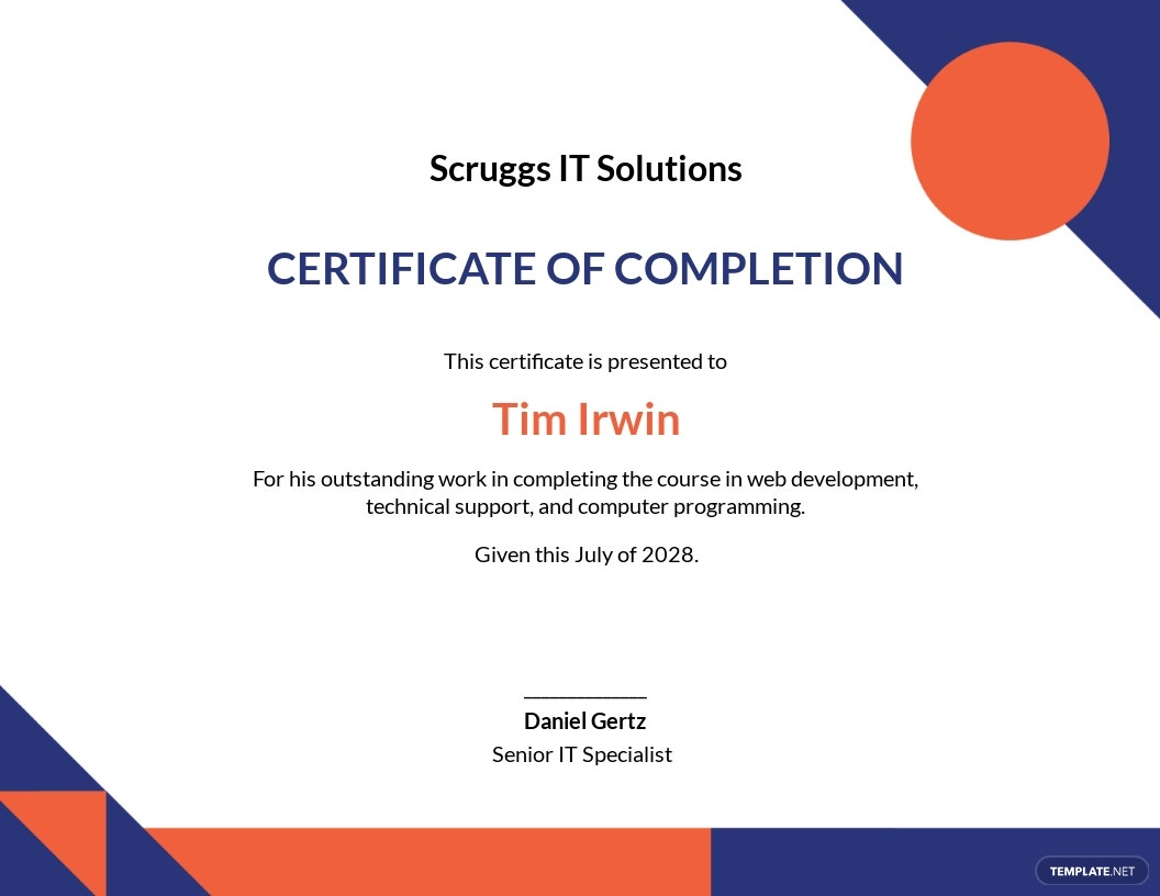 IT Completion Certificate Template