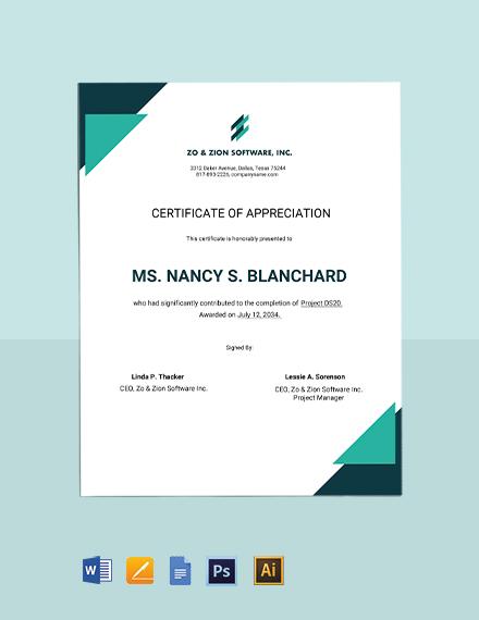 IT Appreciation Certificate Template