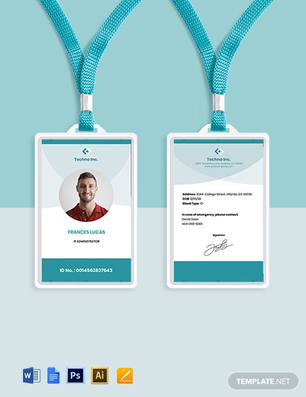 Free Elegant IT ID Card Template