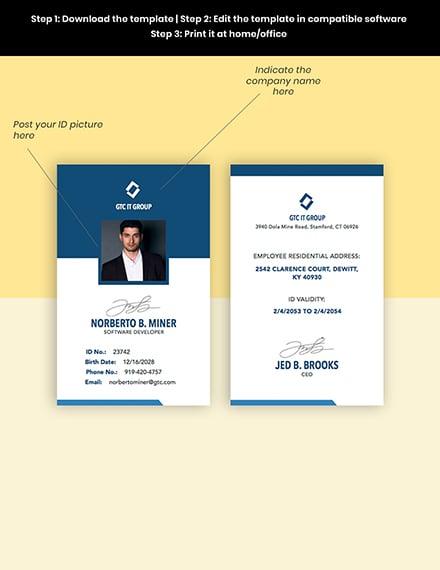 IT Employee ID Card Editable