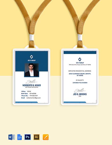 IT Employee ID Card Template