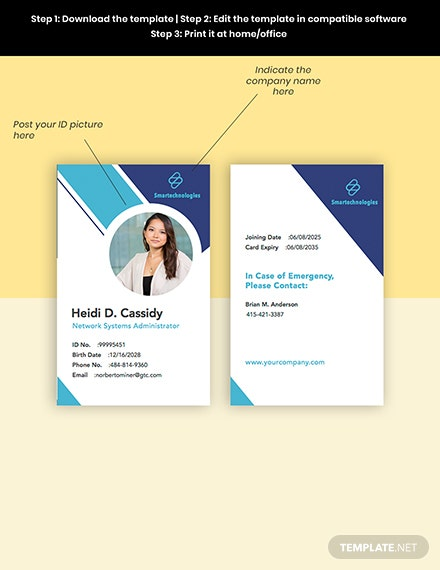 Construction engineer ID Card Editable