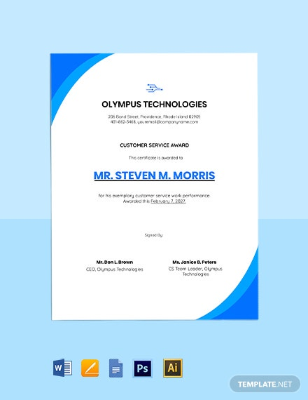 Free Editable Customer Service Certificate Template