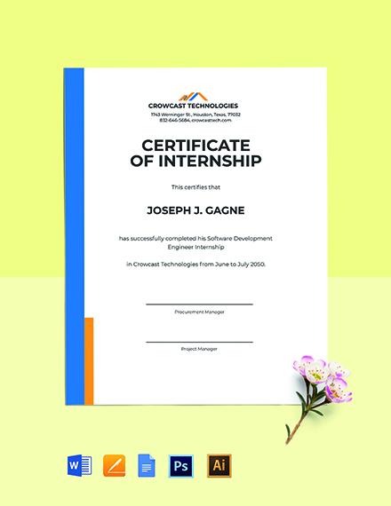Free Software Internship Certificate Template