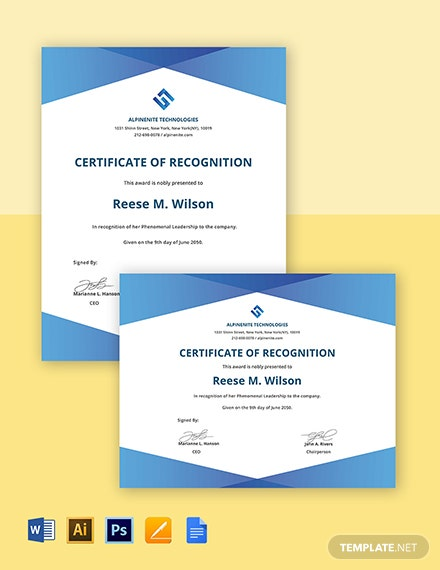IT Recognition Certificate Template