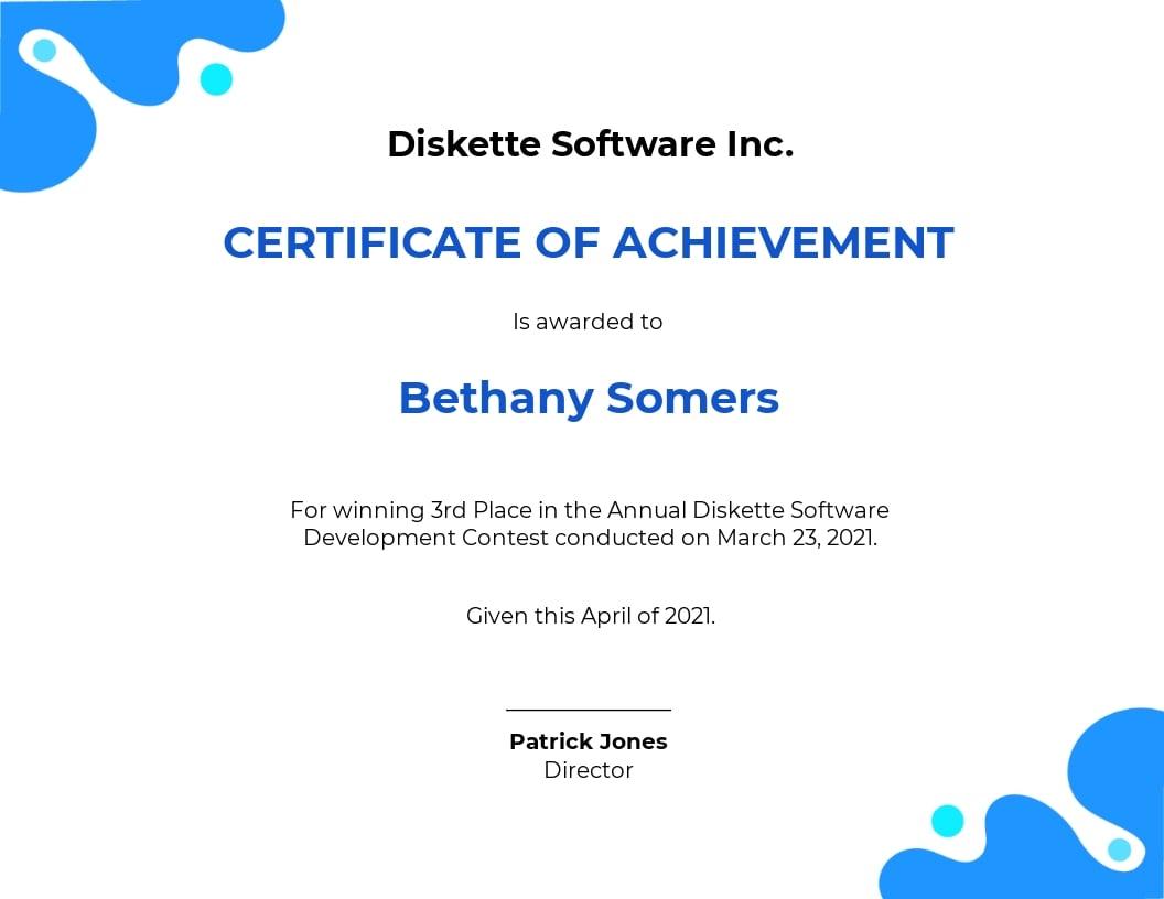 Software Award Certificate Template