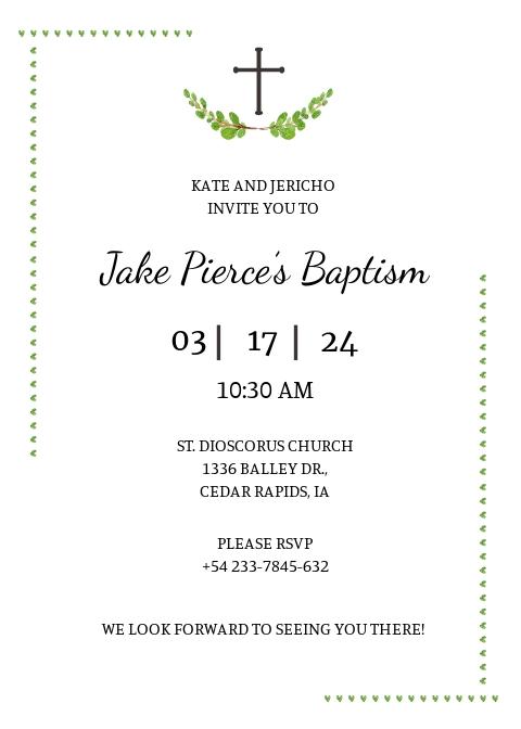 Sample Baptismal Invitation Template
