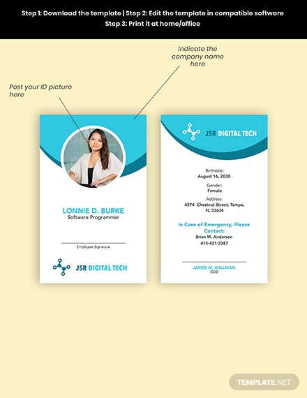 IT Staff ID Card Editable