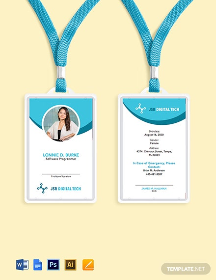 IT Staff ID Card Template
