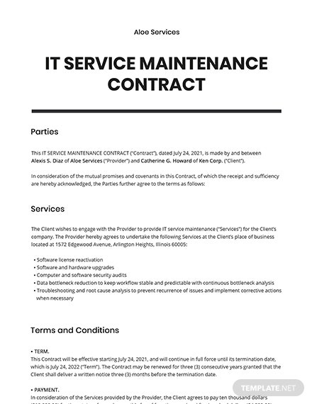 IT Service Maintenance Contract
