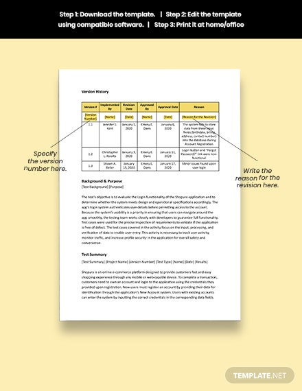 Sample Test Case Report Template