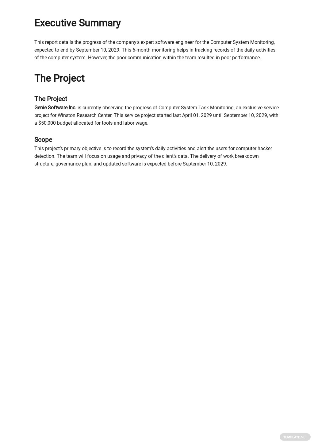 Free Sample IT and Software Report Template 1.jpe