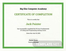 Free Computer Training Certificate Template