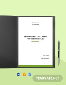 Endorsement Disclaimer Policy For Website Template