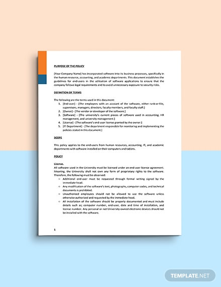 IT Software Asset Management Policy Template Sample