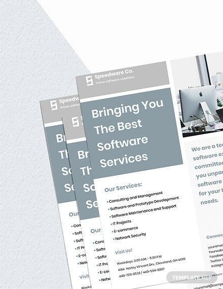 Software Service Company Flyer Template  - Illustrator, InDesign, Word, Apple Pages, PSD, PDF