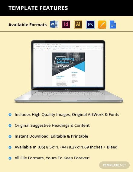 IT Application Software Flyer Template  - Illustrator, InDesign, Word, Apple Pages, PSD