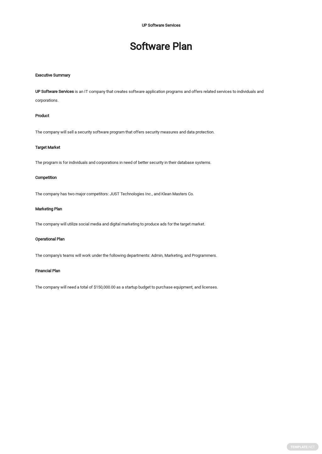 Free One Page Software Plan Template.jpe