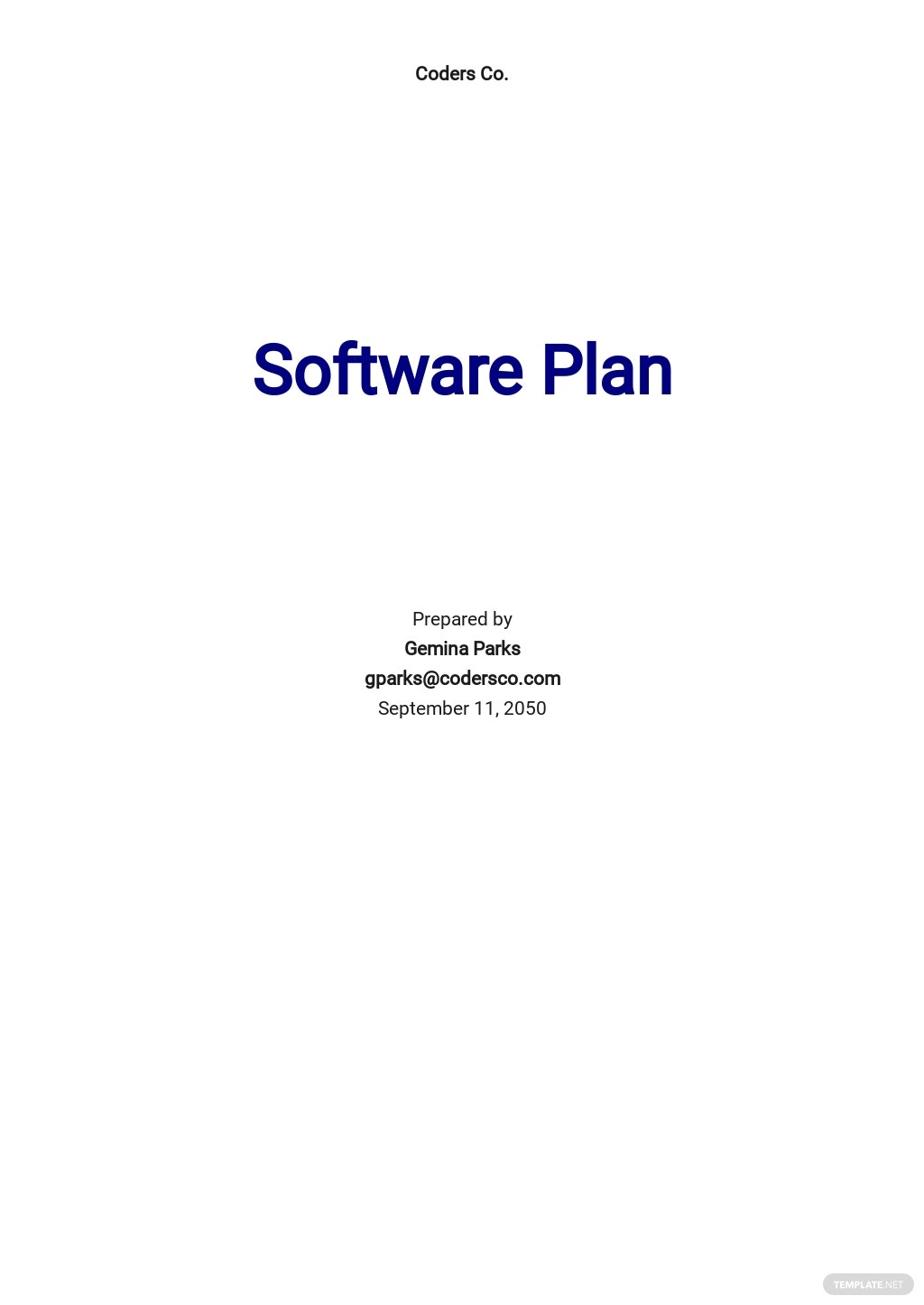 Blank Software Plan Template